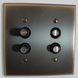 Boys bedroom - aged brass light switchplate