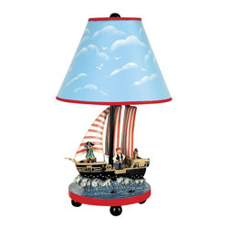 "Guidecraft - Guidecraft Pirate Table Lamp - Guidecraft - Table Lamps - G83707 - Hoist the anchor and unfurl the Jolly Roger! Our new Pirate Furniture Collection sets the theme for adventure on the high seas and search for buried treasure! Bold colors create the perfect background for inspiring images of ships at full sail treasure chests and mysterious maps where ""X"" marks the spot! Stylish wood turnings add to the authentic detail."