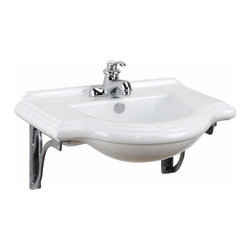Renovators Supply - Wall Mount Sinks Medium Bayside Metal Supports For 4'' faucet | 14182 - Our MEDIUM size Bayside is space-saving by design as it mounts to the wall. Our gray metal supports combine function and elegance. Splashguard rim and overflow prevent water damaged walls and floor. Accepts compact 4 inch center set faucet, sold separately. Measures 25 1/2 inches wide.