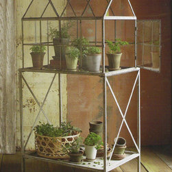 "Cloisters Greenhouse - Use this adorable greenhouse on your porch or in a sunny window inside. Measures 27""L x 19""W x 52 3/4""H."