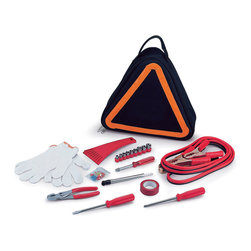 "Picnic Time - Roadside Emergency Kit - Black / Orange - The Roadside Emergency Kit by Picnic Time will give you peace of mind knowing that you're prepared when an unexpected auto emergency arises. The kit features a triangular-shaped tote with carry handle that doubles as a reflective hazard warning sign and contains essential tools for roadside emergency repair, including: 1 set of jumper cables (8.2-ft long, 15-gauge copper with laminated instructions tag affixed to the cables), 1 heavy-duty plastic ice scraper, 1 tire-pressure gauge, 1 9-piece ratchet set (socket sizes ranging from 3/16"" to 1/2"") with rigid hand driver, 1 pair of standard slip-joint pliers, 1 flathead screwdriver (7-1/4""), 1 Phillips screwdriver (7-1/4""), 1 roll of red electrical tape, blade-style automotive fuses: (1) 10 amp, (2) 15 amp, and (1) 20 amp, 1 pair of white work gloves (woven heavy-duty cotton blend), and insulated ring and spade terminals (3 of each). Makes a great gift for any car owner. Includes: 1 set of jumper cables (8.2-ft long, 15-gauge copper with laminated instructions tag affixed to the cables), 1 heavy-duty plastic ice scraper, 1 tire-pressure gauge, 1 9-piece ratchet set (socket sizes ranging from 3/16"" to 1/2"") with rigid hand driver, 1 pair of standard slip-joint pliers, 1 flathead screwdriver (7-1/4""), 1 Phillips screwdriver (7-1/4""), 1 roll of red electrical tape, blade-style automotive fuses: (1) 10 amp, (2) 15 amp, and (1) 20 amp, 1 pair of white work gloves (woven heavy-duty cotton blend), and insulated ring and spade terminals (3 of each)"
