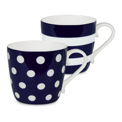 Konitz - Colors Set of 2 Mugs Dark Blue Dots and Stripes - If you're two for tea — or coffee, of course — serve it up in these bone china beauties. The pair of mugs is delicately curved and simply patterned for the ultimate in everyday luxury.