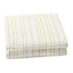 Auggie - Painted Stripe Crib Sheet, Fern - The thin stripe creates the feel of hand painted fitted sheets adding a fun and playful detail to the nursery.