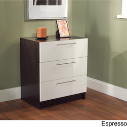 None - Three Drawer Chest - The Three Drawer Chest has an elegant, contemporary design that will add a level of sophistication to any bedroom. This chest features a white espress finish.