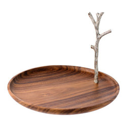 The Just Slate Company - Acacia Serving Stand - The Acacia serving stand, with stainless steel branch handle, is a beautiful centerpiece for both contemporary and traditional settings. The contrasting grains of the natural Acacia wood set against the textured finish of the stainless steel branch handle creates a piece that perfectly combines the modern and rustic styles.