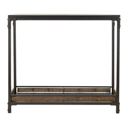 Safavieh - Dinesh Console - The Dinesh console pairs a casual style with industrial undertones. A black wood top and wicker-finished bottom shelf stand atop dark walnut toned metal legs, which boast exposed rivets and brackets � a modern counterpoint to a traditional style. Minor assembly required.