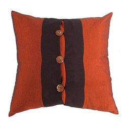 None - Rich Rust/ Black Coconut Buttons Cushion Cover - Dress up any decor with the unique design and beauty of this cushion coverThrow pillow cover is entirely handcraftedUnique Oriental decorative accessory features a silky central black ribbon embellished with three coconut shell buttons