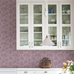 Phoebe Purple Rose Leaf Trail Brewster Wallpaper - The Claremont book from Brewster is full of classic colors and patterns to add a relaxed feeling of home to rooms.