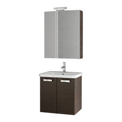 ACF - 22 Inch Wenge Bathroom Vanity Set - If you want a bath vanity, why not consider this high-end bathroom vanity from the ACF City Play collection? Perfect for more contemporary settings, this high-end bath vanity is wall and coated in wenge.