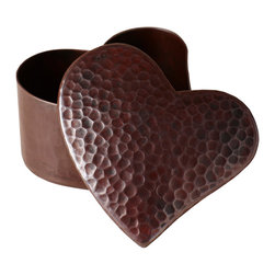 Native Trails - Copper Heart Jewelry Box - Handcrafted with love using traditional techniques, this hammered copper heart box shimmers with warmth and soul. It's a perfect place to store jewelry and other treasures, and will add an earthy elegance to your dresser or shelf. A wonderful gift for yourself or for someone you love.