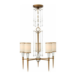 Fredrick Ramond - Bentley FR44505BBZ - Chandelier | Fredrick Ramond - Hinkley Lighting Bentley�_FR44505BBZ�_Chandelier features�_crystal accents with a brushed bronze finish and an off-white cinnamon-trimmed silk shade. Leadwire: 144 inches. Manufacturer:�_Hinkley LightingSize:�_24 in. width x 25.8 in. height x Canopy: 5 in. diameter x 120 in. chain Light Source: 5�_x 60W 120V Candelabra - not included Certifications: UL Location:�_Dry