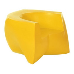 """Heller - Frank Gehry Color Easy Chair, Yellow - It's easy to see why this chair has become a classic. Designed by world famous """"starchitect"""" Frank Gehry, its curvy, twisty, folded form is molded from plastic in a range of candy colors. It's a great way to energize your favorite indoor or outdoor room."""