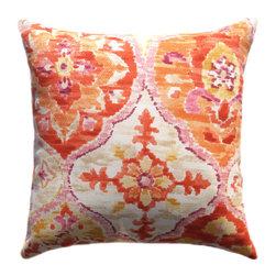 Land of Pillows - Ali Baba Tangerine Outdoor Throw Pillow in Orange, Pink, Yellow, Ivory - 4 Pack, - Fabric Designer - P Kaufmann