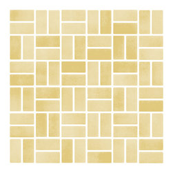 "Susan Jablon Mosaics - Butterscotch Iridescent Glass Tile - This glass tile blend is made from 1"" x 2"" hand made glass mosaic tile in honey tones. The appearance is equally elegant yet simple. Pair this with your light or brown toned counter top for understated style and sophistication.This butterscotch iridescent subway glass tile is a mix of clear and opaque streaks with a glimmering iridescent sheen across the surface. With it's slightly rough edges it gives a wonderfully natural, organic feel anywhere it's used. These stylish glass tiles are the design idea you are searching for. With a slightly irregular, beveled edge and in a wide range of colors, sizes, and finishes, these tiles complement any design goal from warm rustic, to chic retro, to elegant contemporary. Use these tiles today for your new or remodeled kitchen backsplash, bathroom or any wall in your home or business. It is very easy to install as it comes by the square foot on mesh and it is very easy to clean! About a decade ago, Susan Jablon re-ignited her life-long passion for mosaics and has built a customer-focused, artist-driven, business offering you the very best in glass and decorative tiles and mosaics. We are a glass tile store committed to excellence both personally and professionally. With lines of 100% SCS Qualified recycled tile, 12 colors and 6 shapes of mirror, semi precious turquoise stones from Arizona mines, to color changing dichroic glass. Stainless steel tiles in 8mm and 4mm and 12 designs within each, and anything you can dream of. Please note that the images shown are actual photographs of the tiles however, colors may vary due to the calibration of each individual monitor. Ordering samples of the tiles to verify color is strongly recommended."