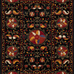 """Momeni - Momeni Habitat HB-08 (Black) 2'3"""" x 8' Rug - Habitat features a globally inspired blend of influences, from Ikat, Uzbek Suzani and indigenous craftsman styles. Hand-tufted by expert artisans that encompasses an organic texture and feel. Made of 100% wool fiber, featuring a hard twist construction, this exquisite collection embraces a fashion-forward color palette exhibiting ethnic and nomadic motifs."""