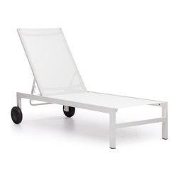 Zuo Modern - Wheeled Chaise Lounge in White - Durable. UV and water resistant polyester fiber cover. Warranty: One year limited. Made from aluminum. No assembly required. 61 in. L x 24.5 in. W x 42 in. H (35 lbs.)Sleek and modern, lounge in style with the Castle Peak Lounge Chair.