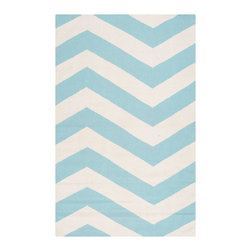 Surya - Surya Frontier Brave Zigzag White/Aqua Hand Woven Rug - The hand woven Surya Frontier Brave Zigzag rug lends the contemporary interior a mesmerizing accent. In a fresh aqua blue and white palette, an overscale chevron pattern elicits trendy texture. 100% wool; Rug pad recommended; Available in several sizes
