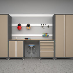Newage Products - Pro Series Taupe 5-Piece Cabinetry Set - This cabinet set is an ideal storage solution for any workshop or garage. Work on a project using the Maple block work surface and the wall cabinets allow your garage to be clean, and free of clutter maximizing storage space for all your equipment.