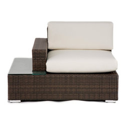 Source Outdoor Manhattan All Weather Wicker Right Arm Sectional Unit - Additional features:Seat height: 18 inchesWeight: 57 lbs.Weight capacity: 250 lbs.Perfect for the poolside - simply hose off to cleanShips fully assembled3-year manufacturer's warranty for material and workmanshipPolyester fabric cushions come with 1-year warrantySunbrella fabric cushions have a 5-year fade warrantyThe Source Outdoor Manhattan All Weather Wicker Right Arm Sectional Unit features a handy side table with glass cover for resting drinks and snacks or for displaying small artifacts. Made from all-weather Dura-Weave resin wicker over a sturdy fully-welded aluminum frame this sectional unit is a component of the Source Outdoor Manhattan Deluxe Sectional and the Source Outdoor Manhattan Deluxe Sectional Sofa. It sports a rich dark brown Espresso finish that's saturated through the weave and comes with extra-thick seat and back cushions in polyester fabric options including Sunbrella.Please note: Natural color polyester fabric cushion options are Quick Shipped while Sunbrella fabric cushion options take slightly longer to ship as they are made to order.About Dura-Weave: Dura-Weave is made of superior-quality high density polyethylene (HDPE) which offers the right blend of tensile strength; bending properties necessary for weaving outdoor wicker. HDPE's superior weather and chemical resistance makes Dura-Weave suitable for all applications and ideal for outdoor usage. Dura-Weave is weather-resistant UV-resistant and available in a wide variety of colors and styles. All Dura-Weave is put through a vigorous 3000 hour UV light test which makes it extremely durable producing beautiful and elegant outdoor furniture. In addition Dura-Weave is also suitable for interior applications.About Sunbrella: Sunbrella has been the leader in performance fabrics for over 45 years. Impeccable quality sophisticated styling and best-in-class warranties prove the new generation of Sunbrella offers more possibilities than ever. Sunbrella fabrics are breathable and water-repellant. If kept dry they will not support the growth of mildew as natural fibers will. Beautiful and durable Sunbrella is a name you can trust in your outdoor furniture.About Source OutdoorCommitted to providing quality outdoor furniture to its customers all over North America Source Outdoor showcases the latest styles in outdoor synthetic wicker. Operating out of a 60 000 sq. ft. warehouse Source Outdoor manufactures outdoor resin wicker furniture to hospitality-grade standards and takes great pride in quality and customer service. A name to reckon with in the patio furniture industry Source Outdoor is fast becoming synonymous with stylish outdoor wicker patio furniture that offers uncompromising quality and lasting function.