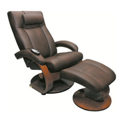 Mac Motion - Mac Motion Oslo Bonded Leather Swivel Recliner with Shiatsu Massage and Ottoman - Bonded Leather swivel Recliner with Shiatsu Masssage and Ottoman - Palace Hickory/Walnut belongs to Oslo Collection Collection by Mac Motion Ease into the luxurious comfort of this swivel recliner with built-in 8-roller shiatsu massage and ottoman. The swivel feature allows the recliner to turn in place, while the adjustable recline lets you choose the angle that works best for you. Comfortable and attractive, this set features luxurious palace hickory bonded leather upholstery and an attractive walnut frame.  Recliner (1), Ottoman (1)