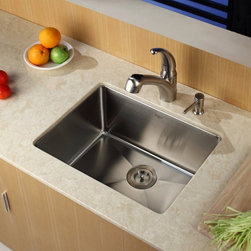 Kraus - Kraus KHU101-23-KPF2110-SD20 Single Basin Undermount Kitchen Sink with Faucet Mu - Shop for Kitchen from Hayneedle.com! Put your unique style on display with the Kraus KHU101-23-KPF2110-SD20 Single Basin Undermount Kitchen Sink with Faucet and its inspired design. Just give the single handle a lift to spring the faucet to life while a push of a button transforms it into a strong sprayer for rinsing. This set is made to last for years to come from stainless steel.Product SpecificationsBowl Depth (inches): 10Weight (pounds): 27Low Lead Compliant: YesEco Friendly: YesMade in the USA: YesHandle Style: LeverValve Type: Ceramic DiscFlow Rate (GPM): 2.2Spout Height (inches): 7.5Spout Reach (inches): 8.5About KrausWhen you shop Kraus you'll find a unique selection of designer pieces including vessel sinks and faucet combinations. Kraus incorporates its distinguished style with superior functionality and affordability while maintaining highest standards of quality in its vast product line. The designers at Kraus are continuously researching and exploring broader markets seeking new trends and styles. Additionally durability and reliability are vital components at Kraus for developing high-quality fixtures. Every model undergoes rigorous testing and inspection prior to distribution with customer satisfaction in mind. Step into the Kraus world of plumbing perfection. With supreme quality and unique designs you will reinvent how you see your bathroom decor. Let your imagination become reality!