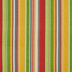 Green Yellow Red Blue Contemporary Stripes Outdoor Upholstery Fabric By The Yard - This upholstery fabric suitable for indoor and outdoor applications. The fabric is water, soil, mildew and fading resistant. It is also Scotchgarded for further protection. It is cleanable with warm water and soap. Uniquely Made in America!