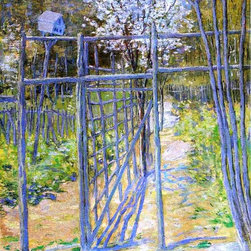 "Julian Alden Weir The Grey Trellis - 16"" x 20"" Premium Archival Print - 16"" x 20"" Julian Alden Weir The Grey Trellis premium archival print reproduced to meet museum quality standards. Our museum quality archival prints are produced using high-precision print technology for a more accurate reproduction printed on high quality, heavyweight matte presentation paper with fade-resistant, archival inks. Our progressive business model allows us to offer works of art to you at the best wholesale pricing, significantly less than art gallery prices, affordable to all. This line of artwork is produced with extra white border space (if you choose to have it framed, for your framer to work with to frame properly or utilize a larger mat and/or frame).  We present a comprehensive collection of exceptional art reproductions byJulian Alden Weir."