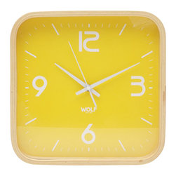 "WOLF - 12"" Square Wall Clock, Yellow - Simplicity and minimalism characterize this square framed, medium-size wooden wall clock. This stark, contemporary design features a 12"" white dial contrasted with black hands and sans-serif numberingperfect for viewing from across the room."