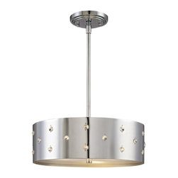 George Kovacs - Bling Bling 3-Light Pendant - If you like it, put some bling on it. This perforated steel drum pendant is stunning on its own. Accented with crystals, the light fixture is a shimmering jewel.