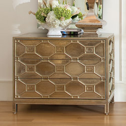 Greenbrair Chest - Shipping included in the price! The Greenbrier Chest is a metal clad wooden chest with a three dimensional lattice design. The oversized chest has three enormous fully lacquered drawers with full extension metal glides making this chest as functional as it is beautiful. Made of hardwood and MDF the exterior is totally covered in sheets of white alloy metal. Each drawer has three handsome nickel plated solid brass pulls.