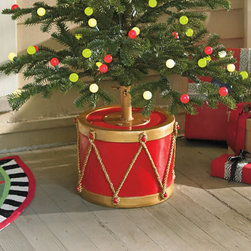 """Grandin Road - Drum Tree Stand - Christmas tree stand with the look of an antique red drum. Crafted from all-weather fiberglass, finished in red and gold hues. Accommodates artificial Christmas trees up to 7-1/2' tall, with poles up to 1-1/4"""" in dia.. Features a special insert so tree stand may also be used as a table. Make a striking statement with your holiday tree this year by showcasing it in our undeniably festive Drum Christmas Tree Stand. Imaginatively designed to re-create the look of an antique rope drum, yet sturdy enough to securely support artificial Christmas trees up to an impressive 7-1/2' tall. A delightful way to say """"Merry Christmas' for years to come --- indoors or out.  .  .  .  ."""