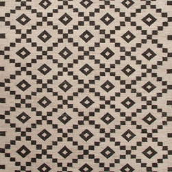 Handwoven Scandinavian Flat Weave Rug, 5'x8' - Constructed with un-dyed wool and using traditional Scandinavian motifs, this rug combines a modern feel with age-old tradition. An antique white and dark charcoal design, this rug was made in India from 100% wool.