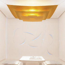 """Ingo Maurer - Ingo Maurer Luxury Pure ceiling light by Ingo Maurer - The Luxury Pure ceiling light has been designed by Ingo Maurer. Available in two colors, this ceiling light's name says it all- It has a luxury look to it and grand feel. Destined to be the center of attention.   Product description: The Luxury Pure ceiling light has been designed by Ingo Maurer. Available in two colors, this ceiling light's name says it all- It has a luxury look to it and grand feel. Destined to be the center of attention. Special order item - not returnable! details:                         Manufacturer:            Ingo Maurer                                     Designer:                         Ingo Maurer                                          Made in:            Germany                            Dimensions:                        Length: 70 7/8"""" (180 cm) X Height: 19.7"""" (50 cm)                                         Light bulb::            1 x 300W Halogen                            Material:            Lacquered paper, aluminum"""