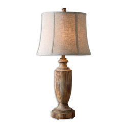 Uttermost - Uttermost Calvino Solid Wood Table Lamp 27687 - Bleached solid wood turning with a light ash gray wash. Oatmeal linen fabric with natural slubbing.