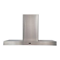 """Cavaliere - Cavaliere-Euro SV218Z2-I48 48; Island Mounted Range Hood - 2 Touch Sensitive Control Panels. Mounting Type - Island Mount. 900 CFM centrifugal blower. Dual six-speed electronic, touch sensitive control panel with LCD display (both side accessible, EZreach design). Delayed power auto shut off (programmable 1-15 minutes). 30 hours cleaning reminder. Four dimmable 35W halogen lights (GU-10 type light bulbs). Aluminum 6 layers micro-cell washable grease filters (dishwasher-friendly). Heavy duty 22 gauge stainless steel (brushed finish). Telescopic decorative chimney of variable dimension. 6"""" round duct vent exhaust and back draft damper. Full stainless steel construction. Venting Mode: Duct (optional re-circulating kit available for ductless). One-year limited factory warranty"""
