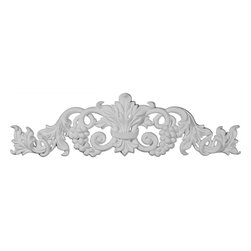 """Ekena Millwork - 19 1/4""""W  x 5 3/8""""H x  7/8""""P Small Grape and Leaf Center with Scrolls Onlay - 19 1/4""""W  x 5 3/8""""H x  7/8""""P Small Grape and Leaf Center with Scrolls Onlay. Our appliques and onlays are the perfect accent pieces to cabinetry, furniture, fireplace mantels, ceilings, and more. Each pattern is carefully crafted after traditional and historical designs. Each polyurethane piece is easily installed, just like wood pieces, with simple glues and finish nails. Another benefit of polyurethane is it will not rot or crack, and is impervious to insect manifestations. It comes to you factory primed and ready for your paint, faux finish, gel stain, marbleizing and more."""