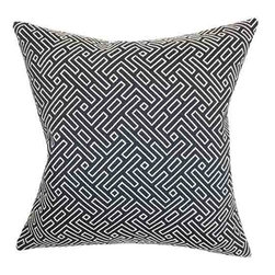 The Pillow Collection - Ocussi Blue 18 x 18 Geometric Throw Pillow - - Pillows have hidden zippers for easy removal and cleaning  - Reversible pillow with same fabric on both sides  - Comes standard with a 5/95 feather blend pillow insert  - All four sides have a clean knife-edge finish  - Pillow insert is 19 x 19 to ensure a tight and generous fit  - Cover and insert made in the USA  - Spot clean and Dry cleaning recommended  - Fill Material: 5/95 down feather blend The Pillow Collection - P18-D-32509-NAVY-C50P50