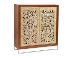Lazy Susan - Lazy Susan LZS-150027 Hand Carved Cabinet - Painstakingly hand carved from solid mango wood. It takes 1 person a full week to make the doors of this cabinet. The doors for house in stainless steel frame. Inside there are 2 useful shelves.