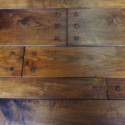 """Walnut Plank with square pegs - Custom Prefinished Black Walnut Plank Flooring with 1/2"""" walnut square pegs. Lightly hand-scraped, burnished & stained in a Custom Color."""