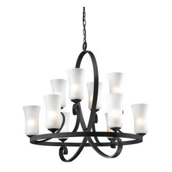 Z-Lite - Z-Lite 603-10 Arshe 10 Light Up Light 2 Tier Chandelier - Z-Lite 603-10 Arshe 10 Light Up Light 2 Tier ChandelierFrom Z-Lite's Arshe Collection, featuring a metal frame, glass shade and modern lines highlight this ten light chandelier from the Arshe Collection. With a height of 30.75 inches and a luxurious caf� bronze finish, this chandelier adds a contemporary feel to any room.Z-Lite 603-10 Features: