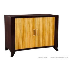 JONATHAN FRANC - PARISH CABINET by Jonathan Franc - Walnut and Zebrawood 2Door Cabinet with Satin Brass pulls