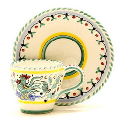 Artistica - Hand Made in Italy - Orvieto: Classic Espresso Cup and Saucer - Orvieto Collection: This is a very old and traditional pattern that originated during the Renaissance in the hill-top town of Orvieto - Italy.