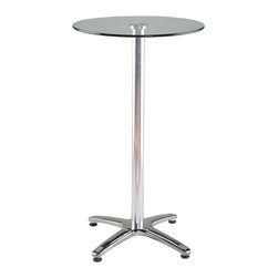 Eurostyle - Eurostyle Amber Round 24x24 Bar Table in Clear Glass & Aluminum - Think Mad Men, 2013. Decidedly 'urban masculine' the Amber-B Bar Table is the perfect spot to discuss mergers & acquisitions while sipping martinis. Clear tempered glass floats above an aluminum column, secured by a quadruped stainless steel base. Notice the retro detailing on the feet. Solid, clean and destined to become a classic.  What's included: Table Base (1), Table Top (1).
