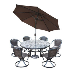 Oakland Living - 9-Pc Round Outdoor Dining Set - Includes one table, six wicker swivel chairs, 9 ft. tilt crank umbrella with stand and metal hardware. Handcast. Traditional lattice pattern and scroll work. Traditional lattice pattern and scroll work. Fade, chip and crack resistant. Umbrella hole table top. Center of table can be replaced an ice bucket. Hardened powder coat. Warranty: One year limited. Made from rust free cast aluminum, steel and resin wicker. Black color. Minimal assembly required. Swivel chair: 23.25 in. W x 25.5 in. D x 34 in. H (24 lbs.). Table: 60 in. Dia. x 29 in. H (70 lbs.). Overall weight: 280 lbs.This dining set is the prefect piece for any outdoor dinner setting. Just the right size for any backyard or patio. The Oakland Tuscany Collection combines southern style and modern designs giving you a rich addition to any outdoor setting.