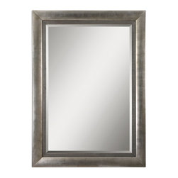 "Uttermost - Gilford Antiqued Silver Leaf w Black tones Mirror - This stately mirror features a wood frame finished in antiqued silver leaf with black undertones and a gray glaze. Mirror has a generous 1 1/4"" bevel. May be hung horizontal or vertical."