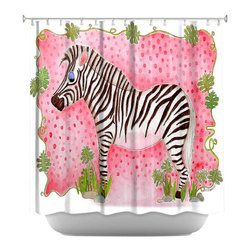 DiaNoche Designs - Shower Curtain Artistic - Zebra Raspberry - DiaNoche Designs works with artists from around the world to bring unique, artistic products to decorate all aspects of your home.  Our designer Shower Curtains will be the talk of every guest to visit your bathroom!  Our Shower Curtains have Sewn reinforced holes for curtain rings, Shower Curtain Rings Not Included.  Dye Sublimation printing adheres the ink to the material for long life and durability. Machine Wash upon arrival for maximum softness. Made in USA.  Shower Curtain Rings Not Included.