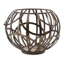 IMAX - Hapak Iron Candle Bowl - Caged heat: A round iron bowl is designed to elegantly showcase a pillar candle.