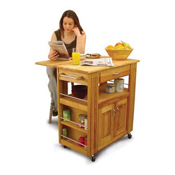 Catskill Craftsmen - Wheeled Heart of the Kitchen Island w 2 Cabin - With multiple shelves and both open and enclosed storage, this versatile kitchen island will be an excellent way to enhance your space. It is made of hardwoods in a natural oil finish and features a drop leaf top for casual dining or creating extra surface space for cooking or baking. Kitchen Islands. Made of US hardwood from the Catskill Mountains. Oil finish. Brushed nickel handles and 2 towel bars. Side shelves with brushed nickel retainer rods. Made in the USA. Drop leaf is supported underneath the top. Cabinet contains no shelving. Overall: 27.5 in. L x 36 in. W x 34.5 in. H (87 lbs.). Table top with drop leaf up: 27.5 in. L x 34 in. W . Table top with drop leaf down: 16.5 in. L x 34 in. W. Interior drawer: 12.25 in. L x 18 in. W x 3 in. H. Interior cabinet: 14.25 in. L x 20.5 in. W x 15 in. H. Open shelf: 14.25 in. L x 28.5 in. W x 7.25 in. HThis moderately sized cart offers loads of storage as well as bountiful workspace with the addition of an eleven inch drop leaf. Stylish design and strong functionality will truly make this island the Heart of  the Kitchen.