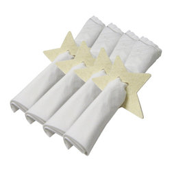 The Felt Store - Felt Star Napkin Holder - Set Of 4 Pieces - White - This Star shaped napkin holder will brighten up your dining table while holding your napkins together. The napkin holder is uniquely designed with a smaller star-shape punched out in the middle; it measures approx. 4 inches x 4 inches (102mm x 102mm) and is made of our environmentally friendly 5mm designer felt. The Napkin holder is available in white, apple green, dark brown and dark gray and comes in a set of four stars. *NAPKINS ARE NOT INCLUDED*