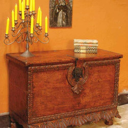 """Scalloped skirt Spanish colonial chest - BC-CHST-09: One of our most popular pieces, this Spanish colonial scalloped-skirt chest measures 42"""" L x  21 1/2"""" D x 30"""" H."""